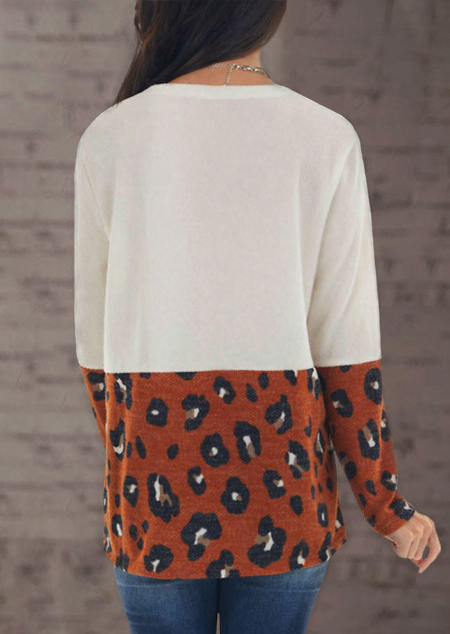 Leopard Long Sleeve Casual Blouse - White