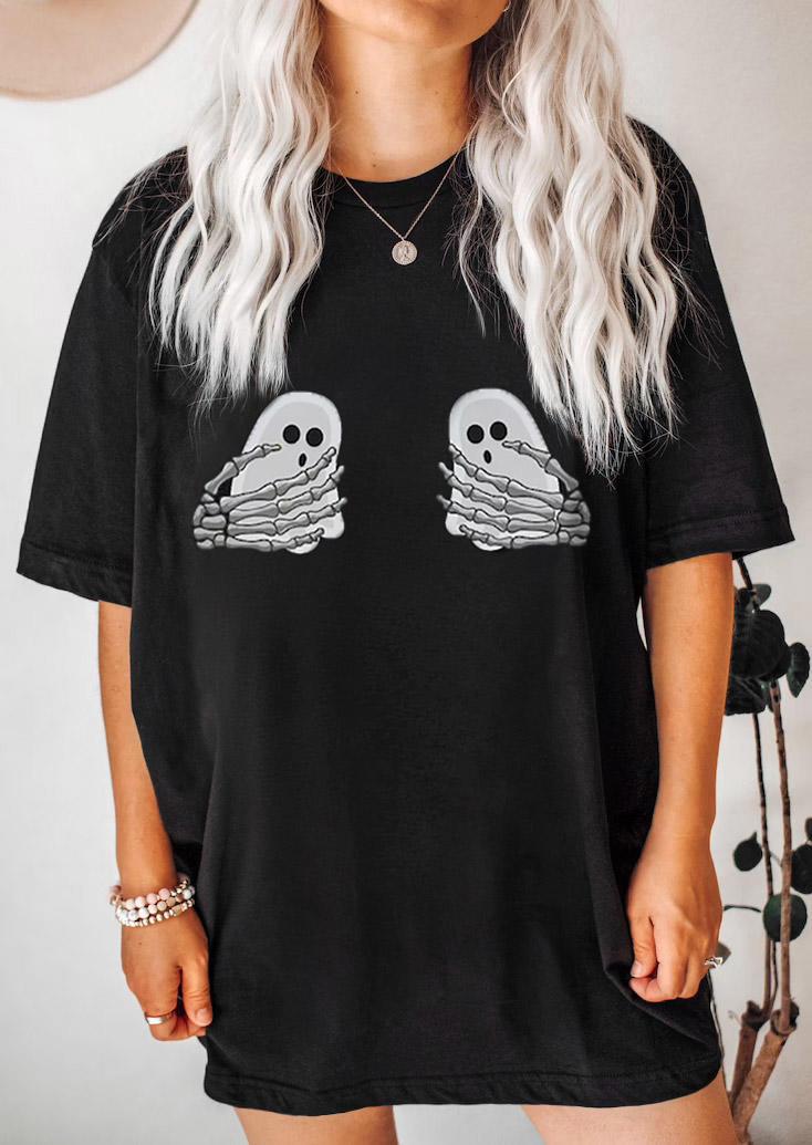 Halloween Ghost Skeleton Hand T-ShirtTee - Black