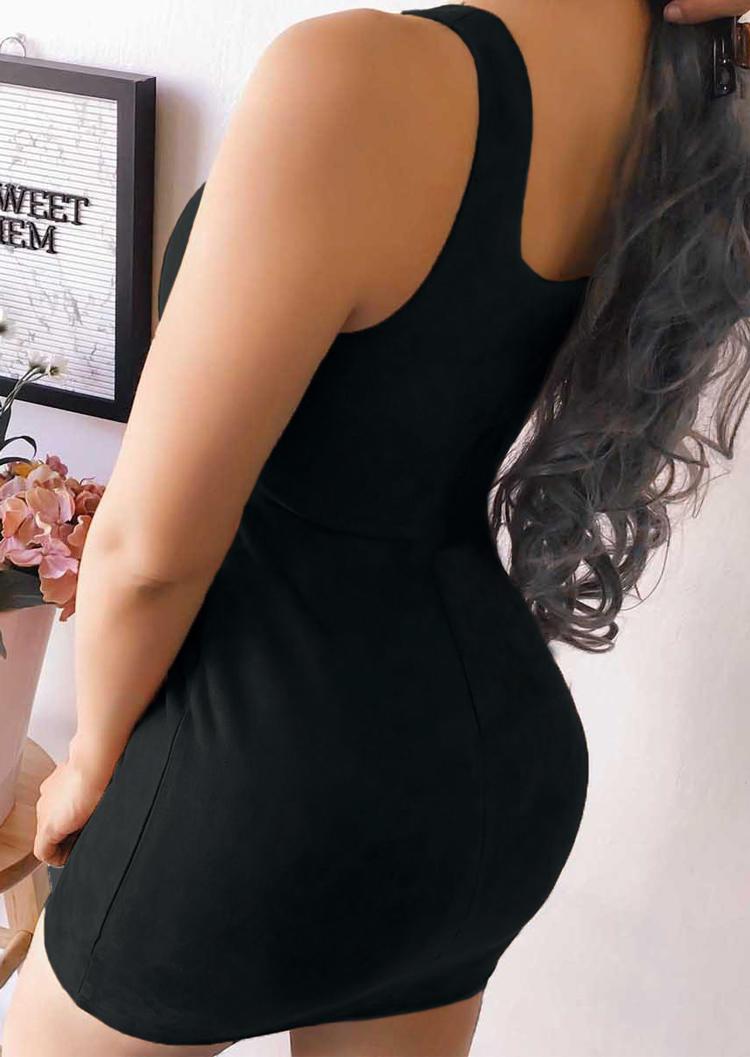 Square Collar Sleeveless Bodycon Dress - Black