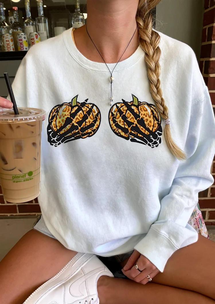 Halloween Leopard Pumpkin Skeleton Hand Sweatshirt - White