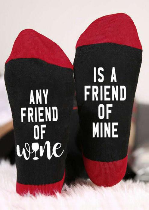 Crew Socks Any Friend Of Wine Is A Friend Of Mine Socks in Red. Size