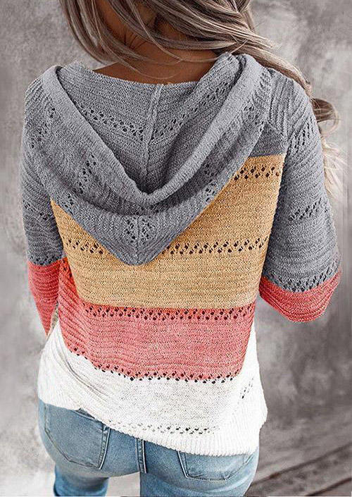 Color Block Striped Hooded Sweater
