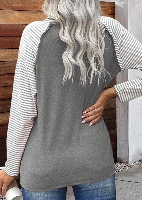 Striped Splicing Cowl Neck Blouse - Gray