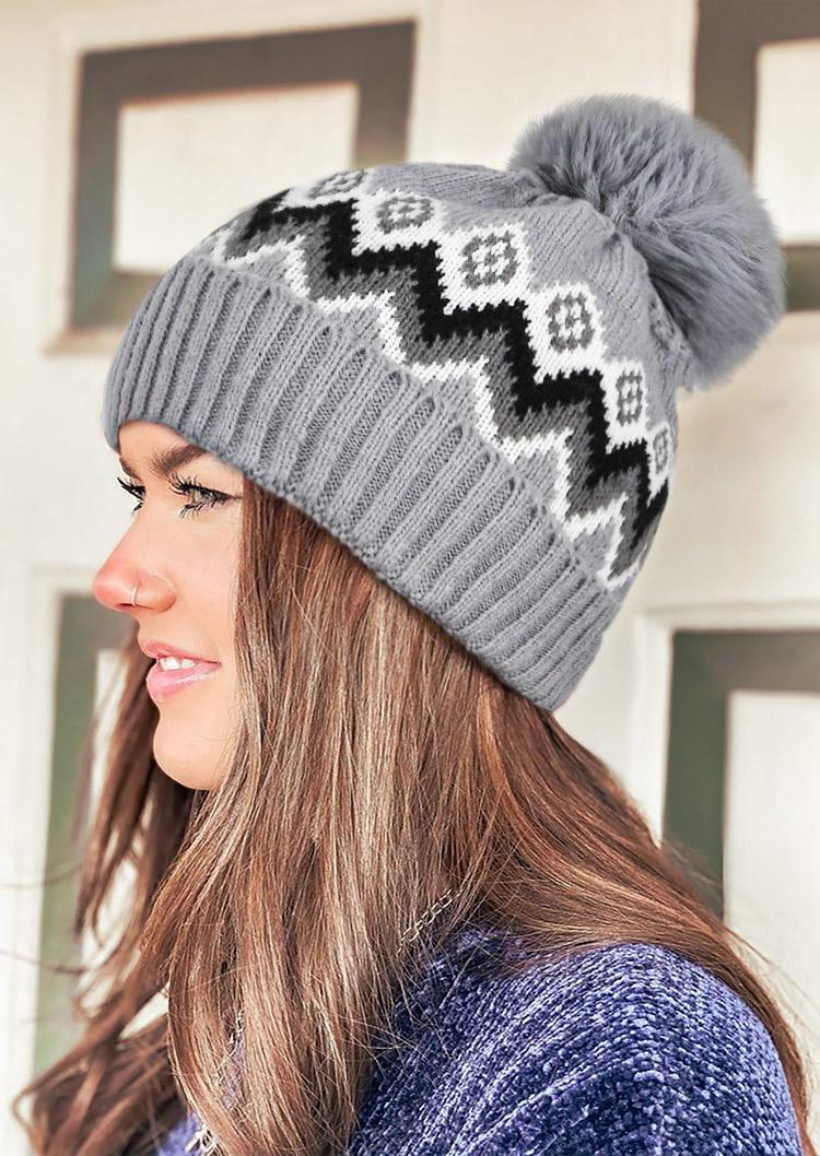Aztec Geometric Hairball Knitted Bonnet Beanie Hat
