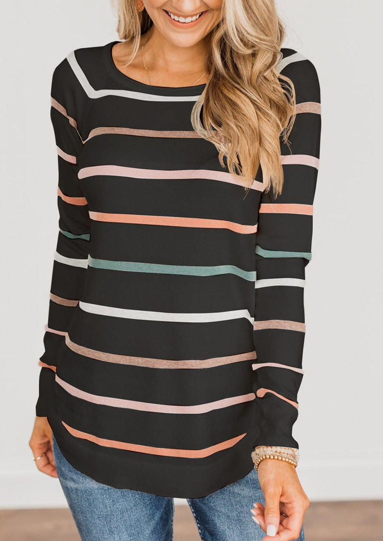 Colorful Striped Long Sleeve Blouse - Black