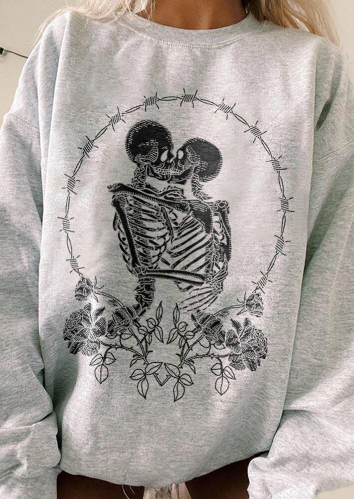 Halloween Skulls In Love Floral LongSleeve Sweatshirt - Gray