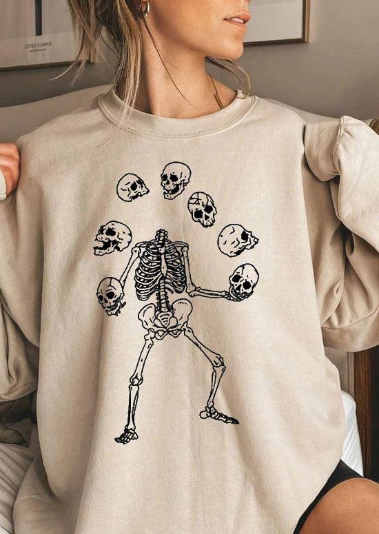 Halloween Funny Skeleton Sweatshirt - Light Khaki