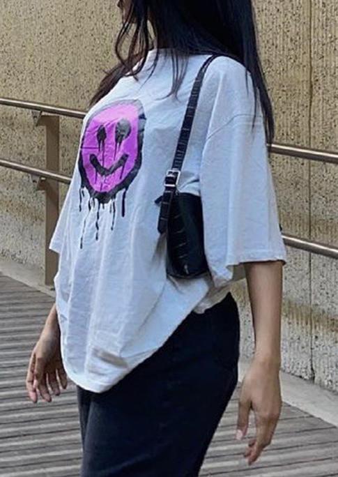 Smiley O-Neck T-Shirt Tee - White