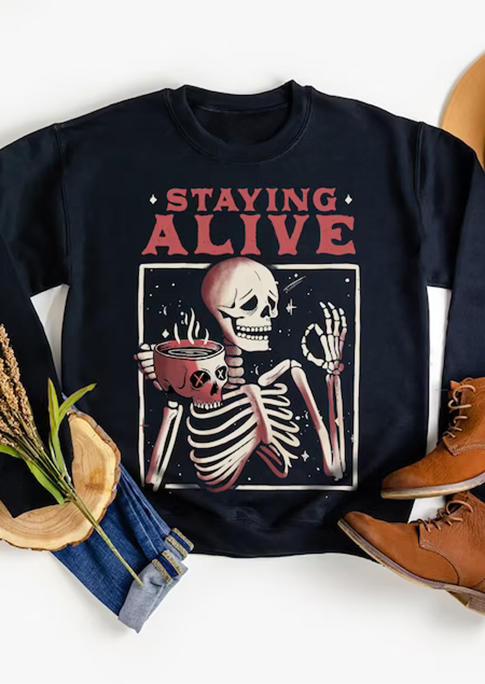 Halloween Skeleton Staying Alive Sweatshirt - Black