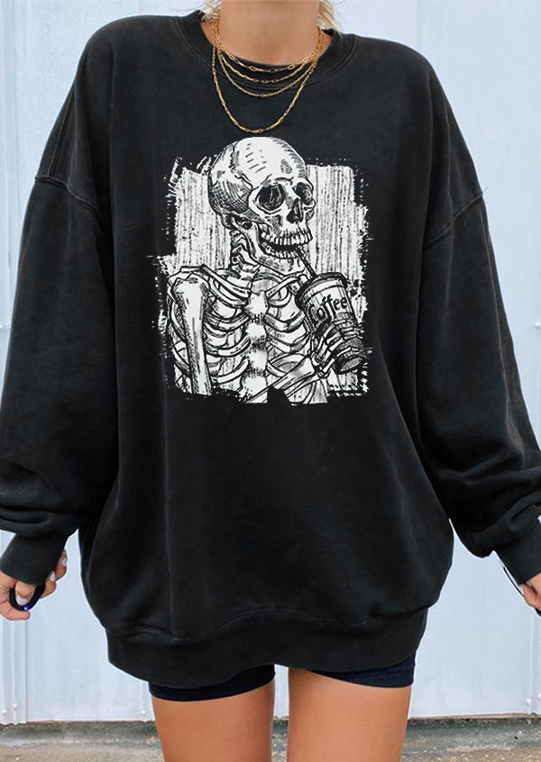 Halloween Skeleton Coffee Sweatshirt - Black