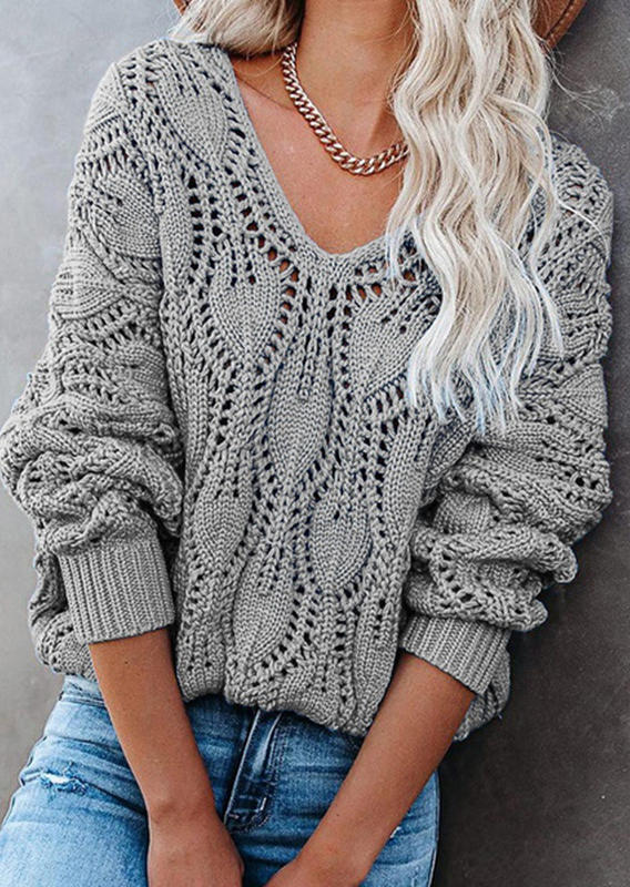 Hollow Out Knitted Long Sleeve Sweater - Gray