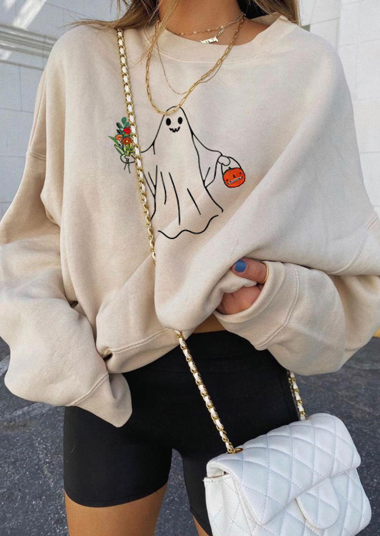Halloween Pumpkin Face Floral Sweatshirt - Khaki