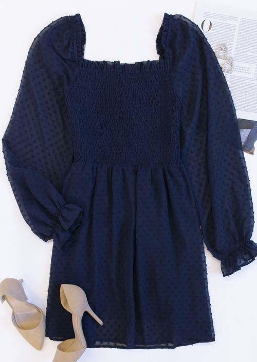 Dotted Swiss Smocked LongSleeve Mini Dress - Navy Blue