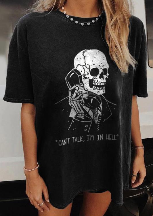 Halloween Can't Talk I'm In Hell Skull T-Shirt Tee - Black
