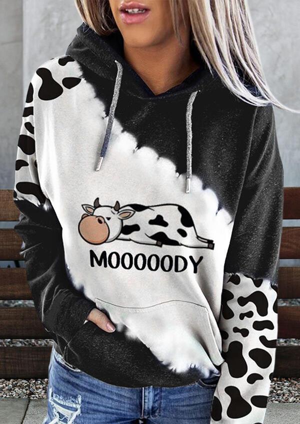 Hoodies Mooooody Cow Kangaroo Pocket Drawstring Hoodie in Brown. Size: S,M,L,XL