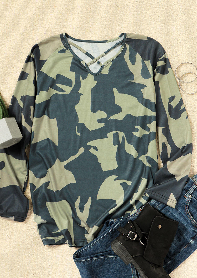 Camouflage Criss-Cross Hollow Out Blouse