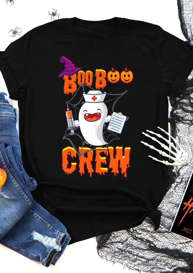 Halloween Pumpkin Face Ghost Boob Crew T-Shirt Tee - Black