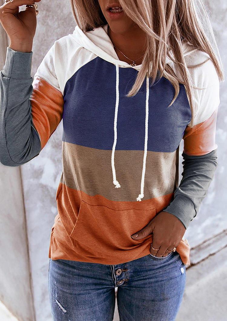 Hoodies Color Block Drawstring Kangaroo Pocket Hoodie in Multicolor. Size: S,M,L,XL
