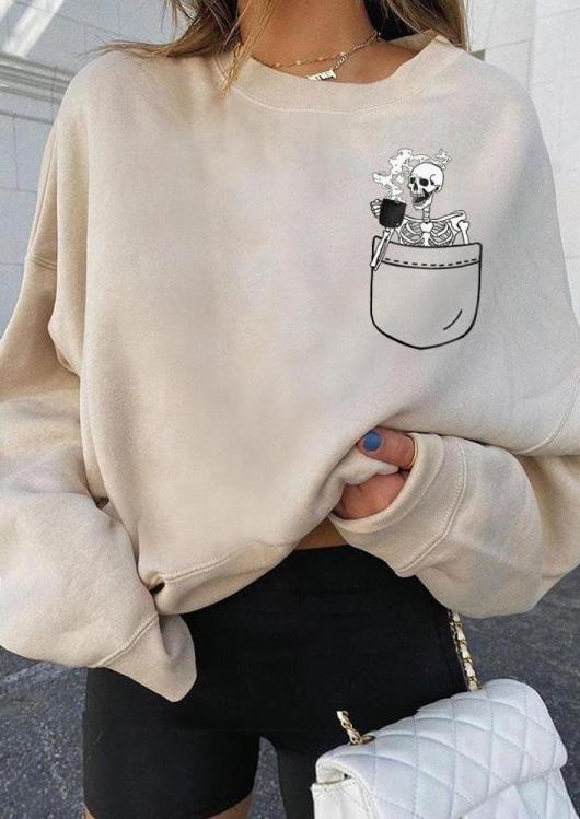 Halloween Skeleton Long Sleeve Sweatshirt - Beige