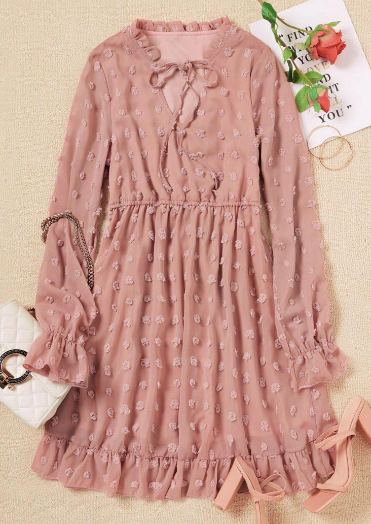 Dotted Swiss Tie Ruffled Mini Dress - Pink
