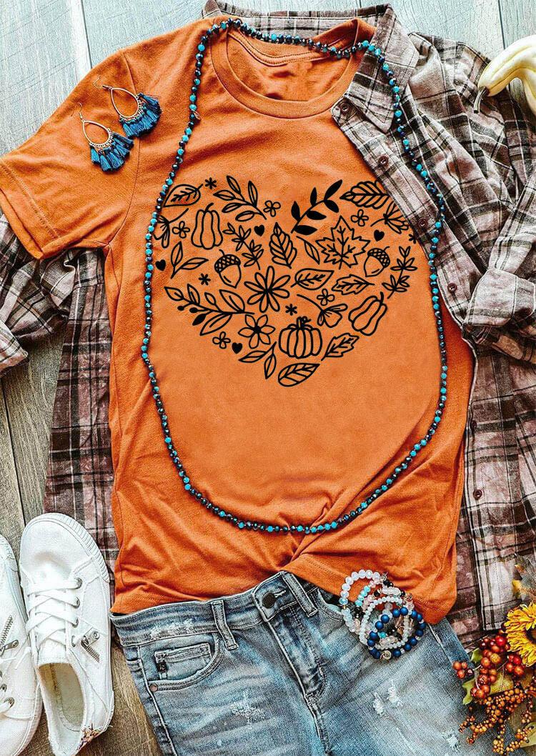 Pumpkin Heart Leaf Floral Grass T-ShirtTee - Orange