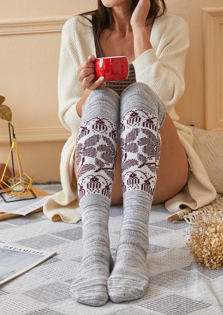 Vintage Ethnic Style Thigh-High Socks