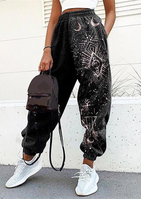 Sun Moon Pocket Sports Sweatpants - Black