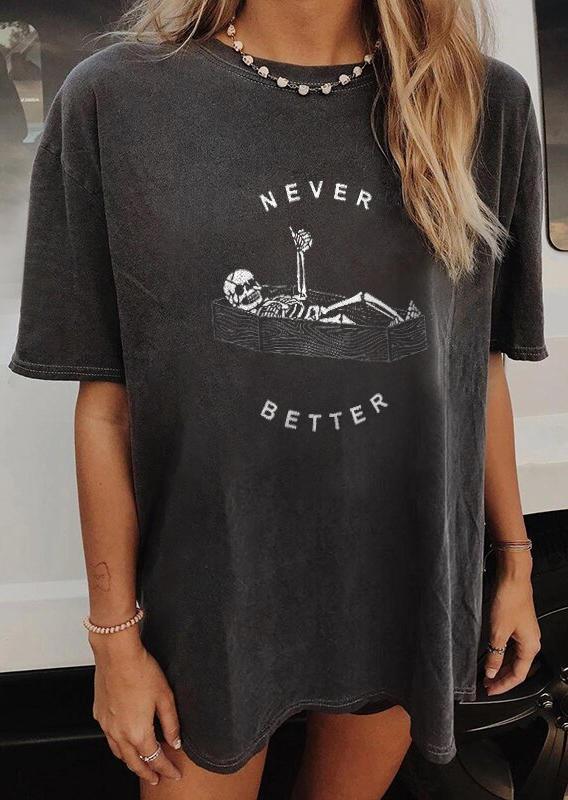 Halloween Never Better Skeleton T-ShirtTee - Dark Grey