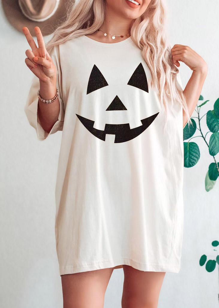 Halloween Pumpkin Face  T-ShirtTee - Beige