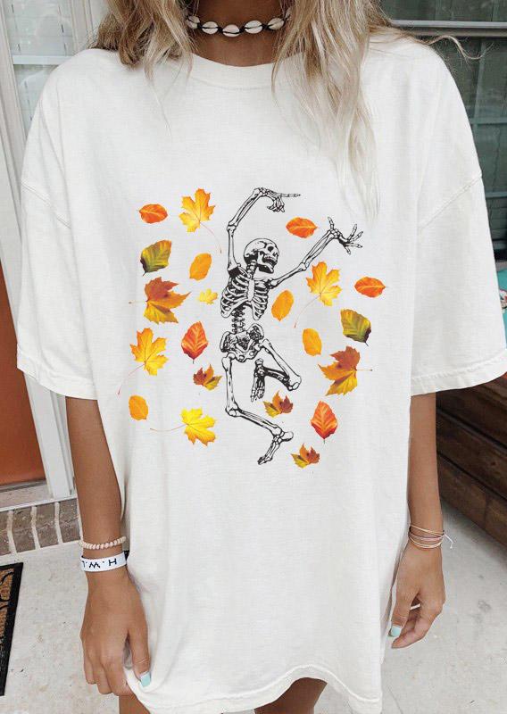 Halloween Maple Leaf Skeleton Dance T-ShirtTee - White