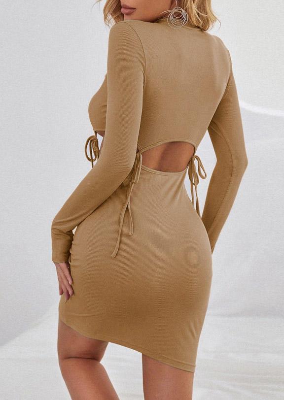 Tie Hollow Out LongSleeve Bodycon Dress - Khaki
