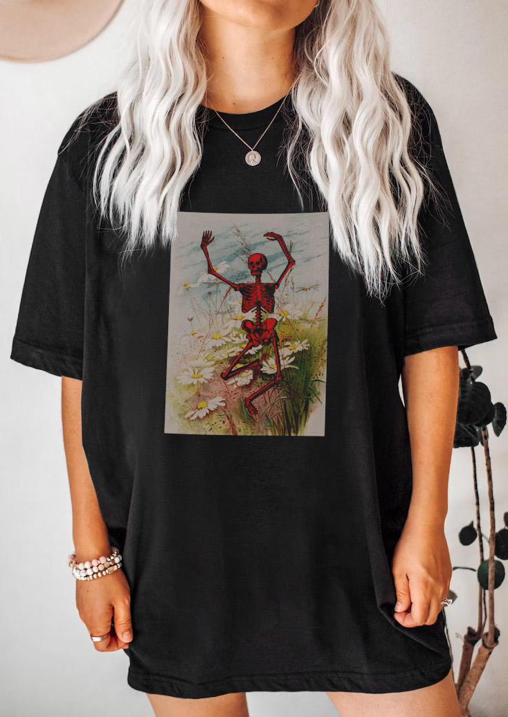 Halloween Skeleton Dance Floral T-ShirtTee - Black