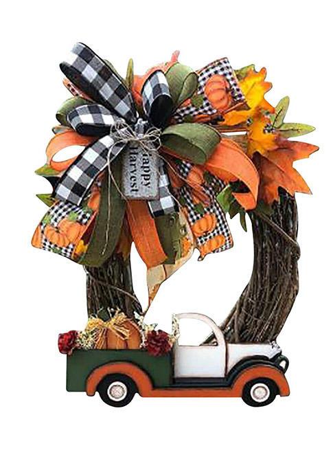 Thanksgiving Pumpkin Truck Wreath Decor For Front Door