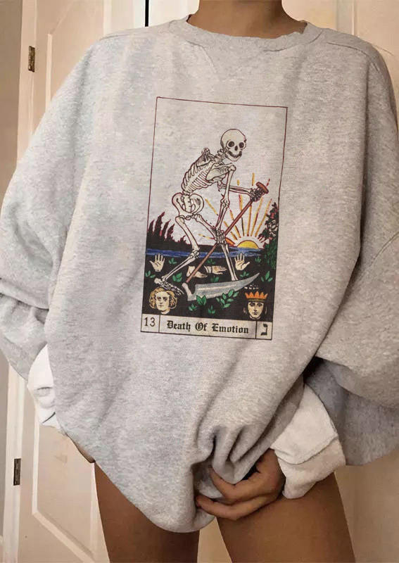 Halloween Death Of Emotion Skeleton Sickle Sweatshirt - Light Grey