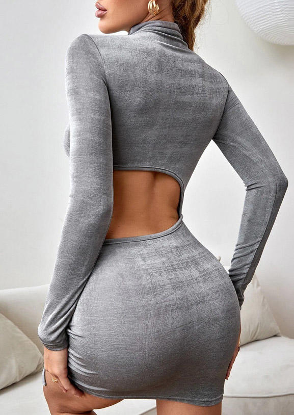 Hollow Out Drawstring Bodycon Dress - Gray
