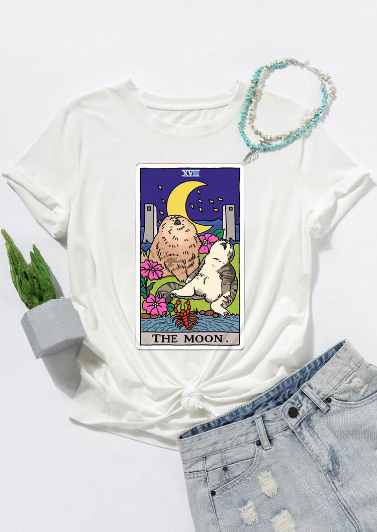 Tarot Moon Cat Floral T-ShirtTee - White