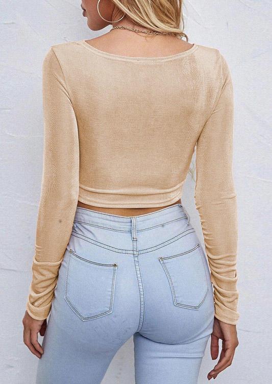 Twist Hollow Out Long Sleeve Crop Top - Khaki