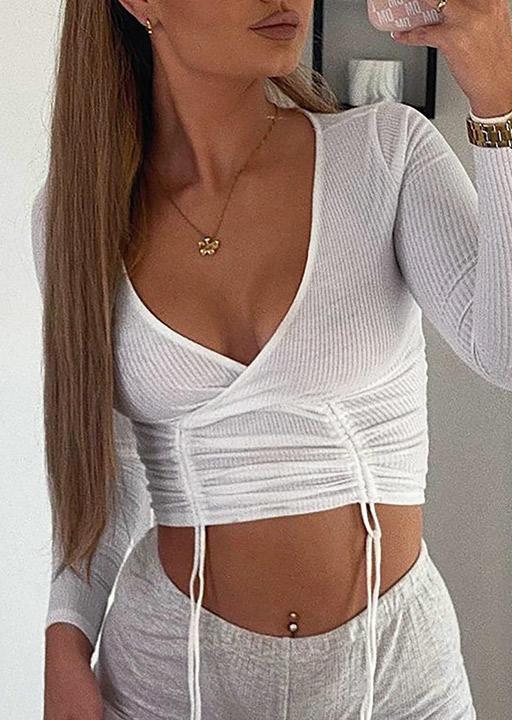 Drawstring V-Neck Long Sleeve Crop Top - White