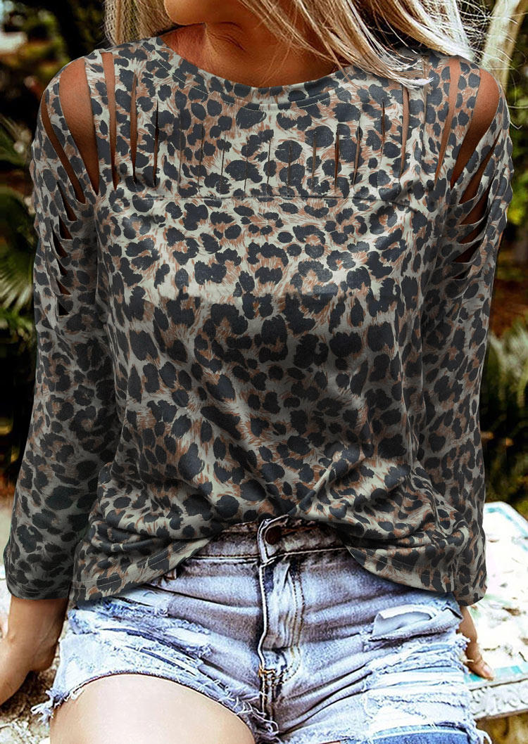 Leopard Cut Out Hollow Out Blouse