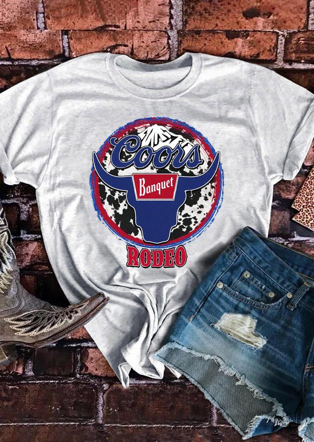Coors Banquet Rodeo Longhorn Bull Cow T-Shirt Tee - Light Grey