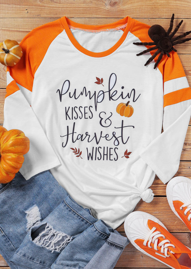 Pumpkin Kisses Harvest Wishes T-ShirtTee - White