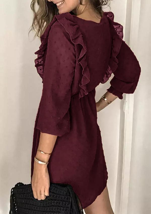 Ruffled Button ElasticCuff Mini Dress - Burgundy