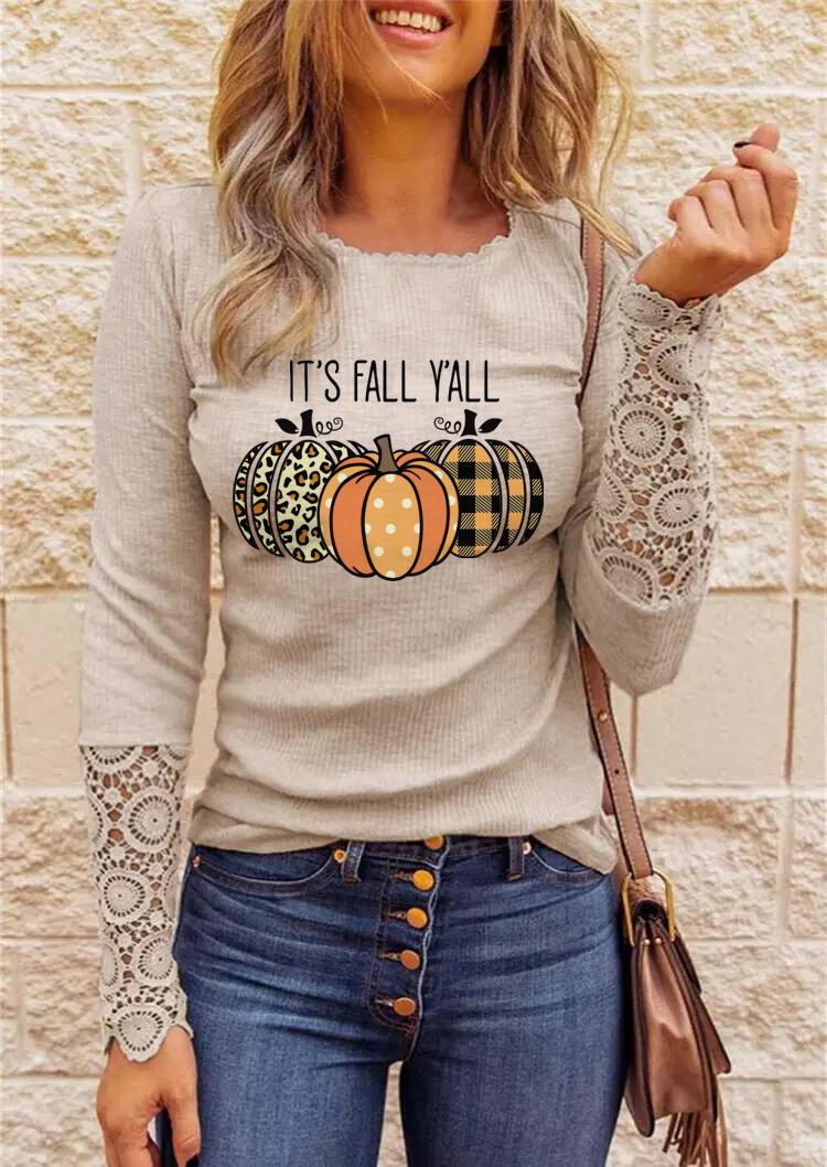 Lace Leopard Plaid Polka Dot Pumpkin It's Fall Y'all Blouse - Khaki