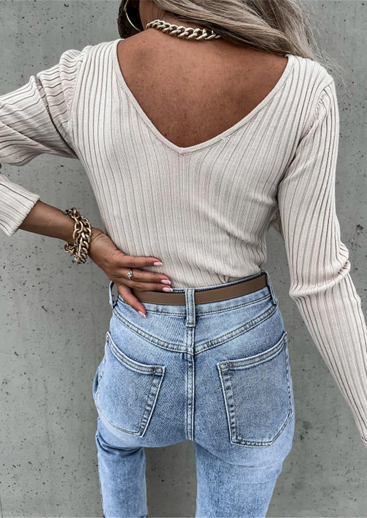 Deep V-Neck Long Sleeve Blouse - Khaki