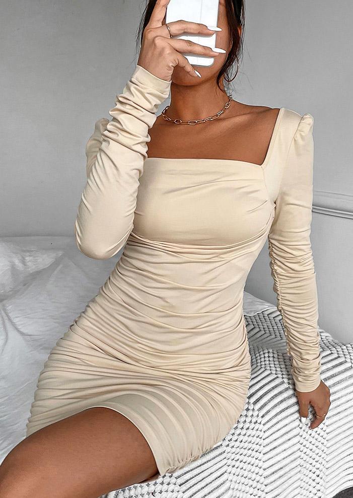 Ruched Puff Sleeve Bodycon Dress - Khaki