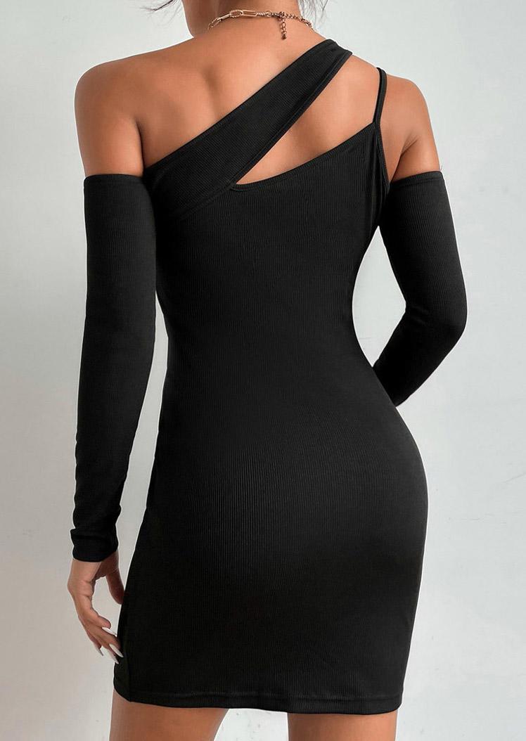 Asymmetric Cold Shoulder Bodycon Dress - Black