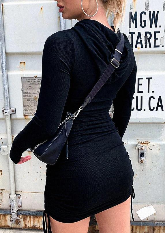 Drawstring Long Sleeve Hooded Bodycon Dress - Black