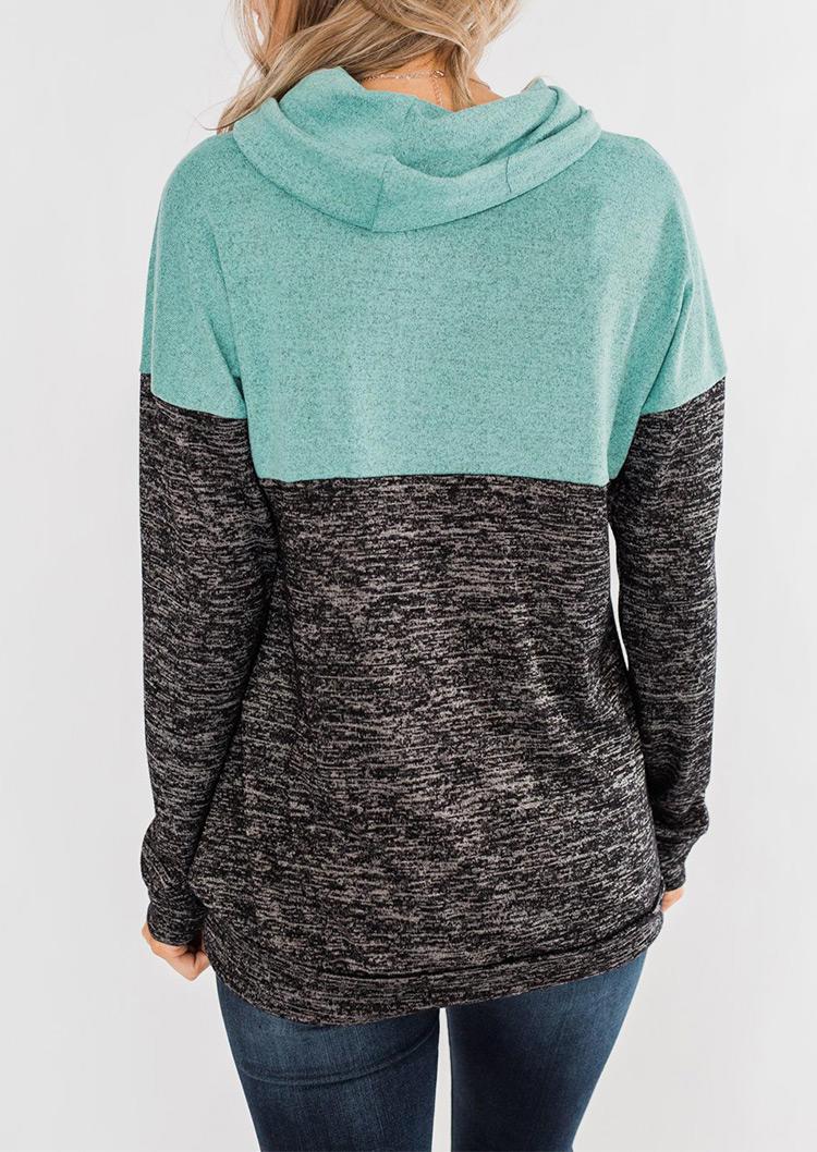 Color Block Cowl Neck Sweatshirt - Gray