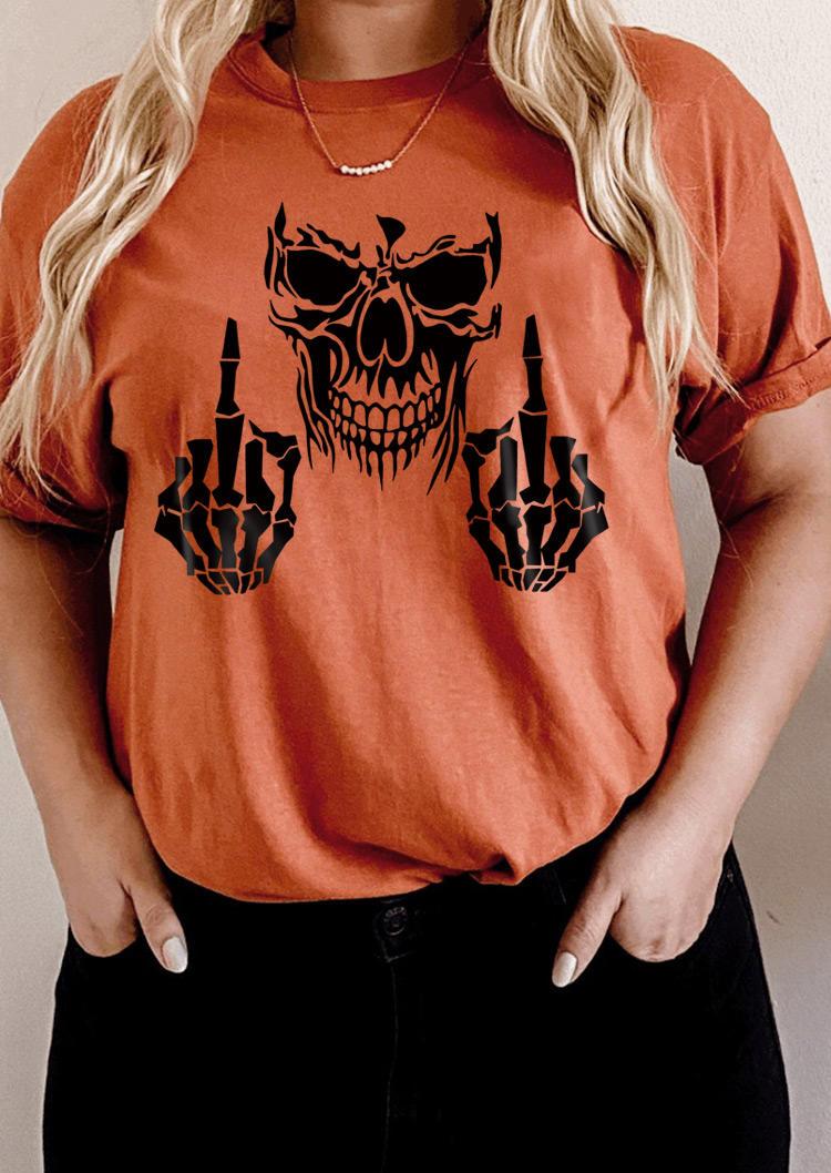 Halloween Skull Skeleton Hand T-ShirtTee - Brick Red