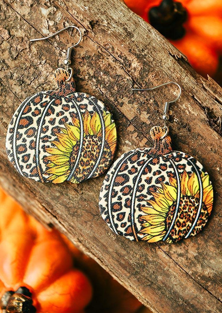 Thanksgiving Pumpkin Leopard Sunflower Earrings